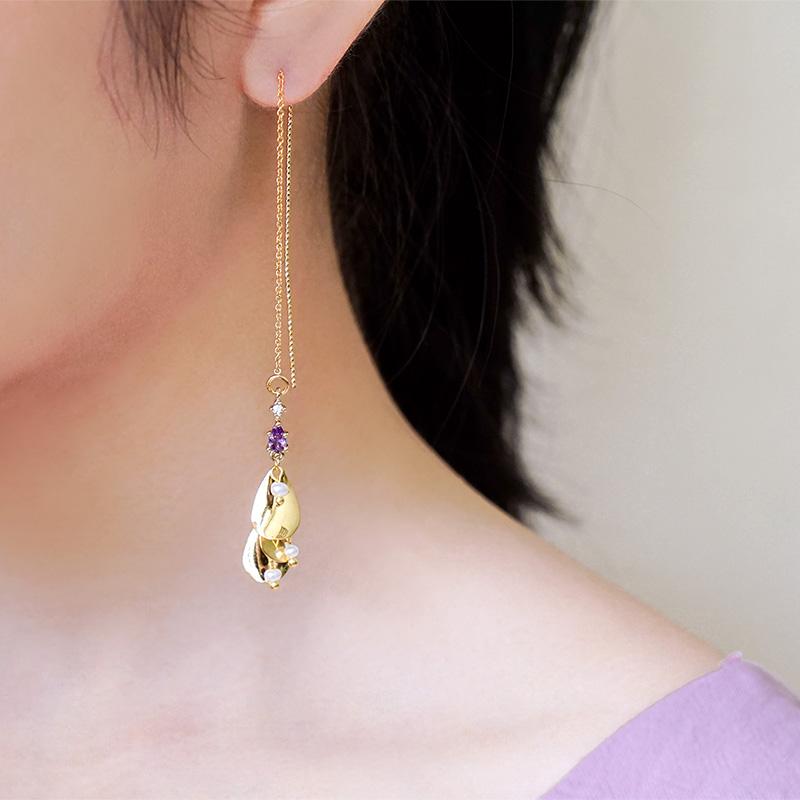 星夜裡的人 – 紫 – 耳線耳環