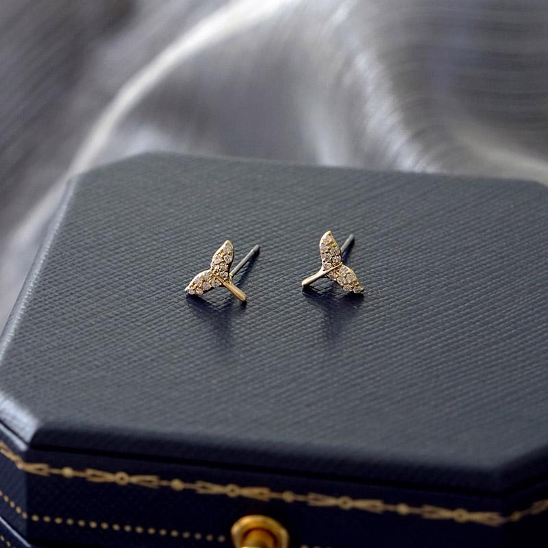 賽倫之音 – 鋯石魚尾 – 金 – 耳環