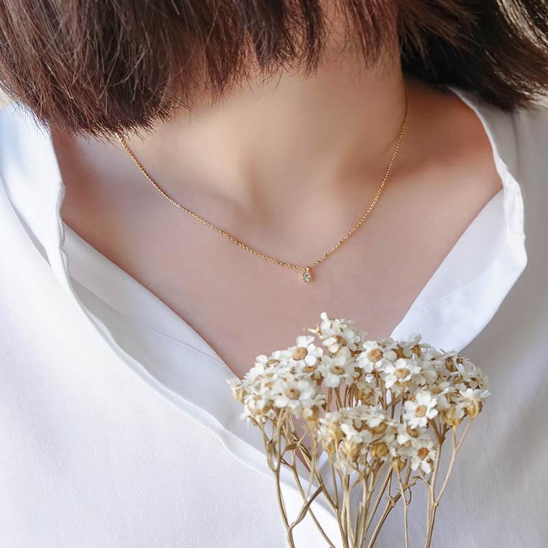 優雅單鑽 – 白 – 項鍊