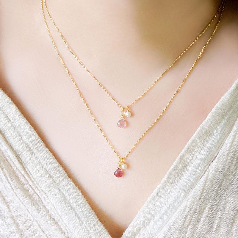 魅力寶石鍊 – 粉碧璽 – 項鍊