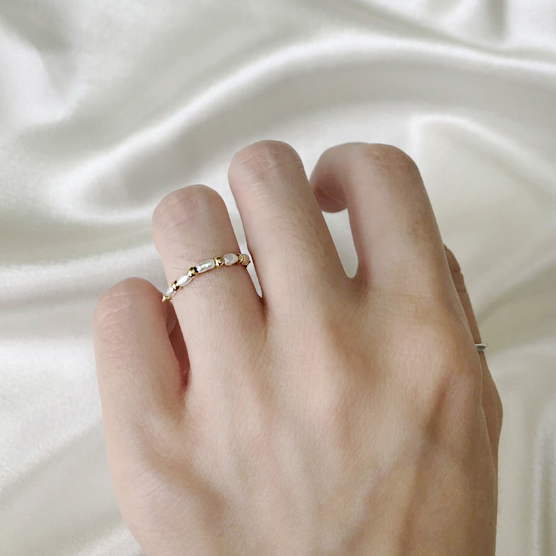 寶石調節式線戒 – 珍珠 – 戒指