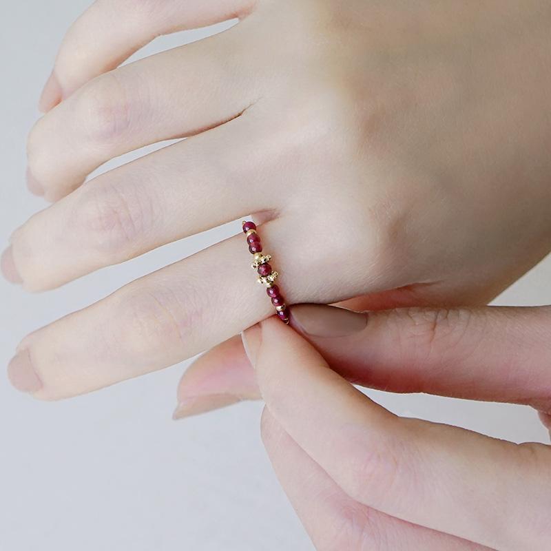 寶石調節式線戒 –  石榴石 – 戒指