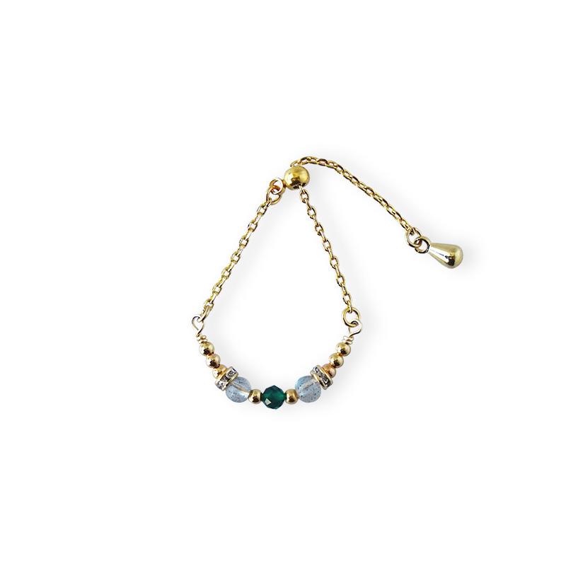 寶石調節式線戒 – 祖母綠 – 戒指