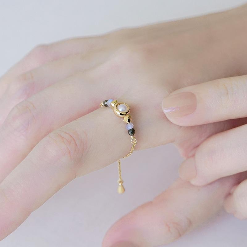 寶石調節式線戒 – 拉長石 – 戒指